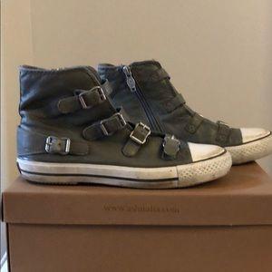 Ash stone leather zip sneaker.